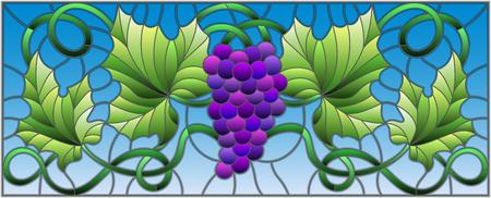 Pintura del estilo del vitral con un manojo de uvas y de hojas púrpuras. Foto de archivo - 76004243
