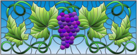 Stained glass style painting with a bunch of purple grapes and leaves. Ilustracja