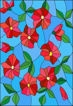 Illustration in the style of stained glass with intertwined abstract red flowers and leaves on a blue background