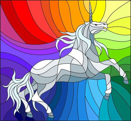 Illustration in stained glass style with abstract white unicorn on a rainbow background