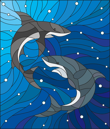 killer waves: Illustration in the style of stained glass with two sharks on the background of water and air bubbles