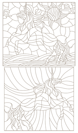 an example: Set contour illustration of stained glass with abstract unicorns.