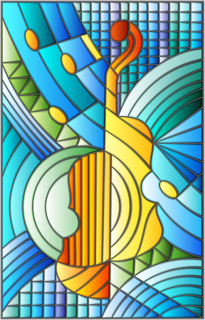 Illustration in stained glass style on the subject of music , the shape of an abstract violin on geometric background.