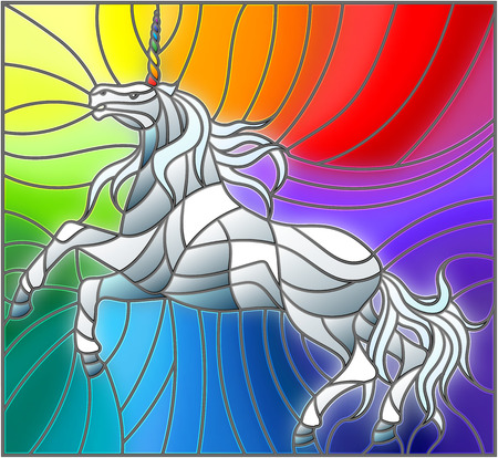 Illustration in stained glass style with abstract white unicorn on a rainbow background. Illustration