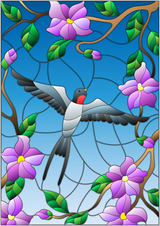 Illustration in stained glass style with a swallow on background of blue sky and flowering tree branches.