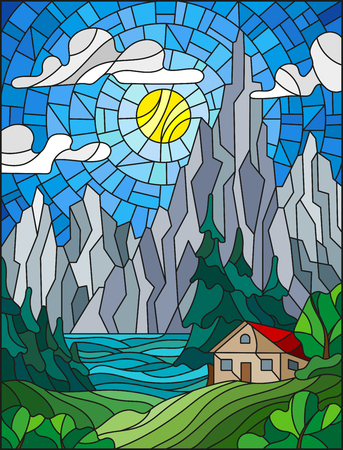 Illustration in stained glass style with a lonely house on a background of pine forests, lakes , mountains and day-Sunny sky with clouds.