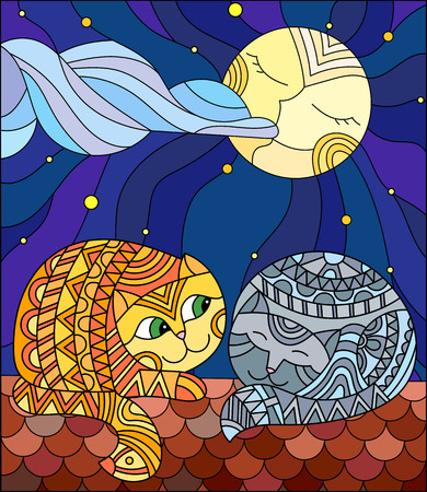 A couple of cats in stained glass abstract style sitting on the roof against the starry sky and the moon. Illustration