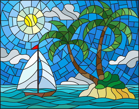 Illustration in stained glass style with the seascape, tropical island with palm trees and a sailboat on a background of ocean , sun and cloudy sky
