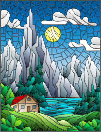 glade: Illustration in stained glass style with a lonely house on a background of pine forests, lakes , mountains and day-Sunny sky with clouds Illustration