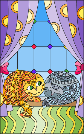 Illustration in stained glass style window with curtains and two cats on the windowsill