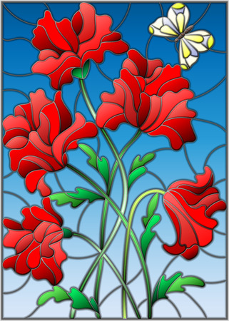 Illustration in stained glass style with a bouquet of red poppies and a butterfly on the background of blue sky Illustration