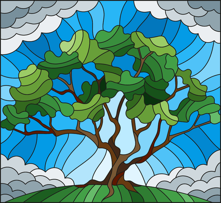 Illustration in stained glass style with tree on cloudy sky background