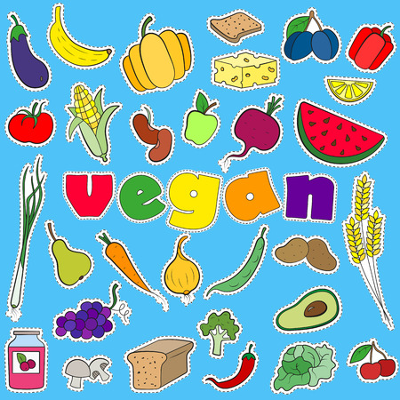 A set of simple icons patches on the subject of vegetarianism and vegan inscription on a blue background Иллюстрация