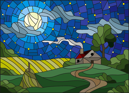 Illustration in stained glass style landscape with a lonely house amid field,moon and starry sky Illustration