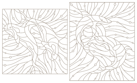 Set contour illustrations of stained glass whales killer whales and sharks on the background of water and air bubble.