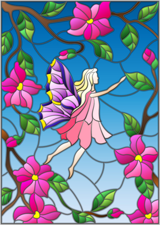Illustration in stained glass style with a winged fairy in the sky, pink flowers and greenery. Illustration