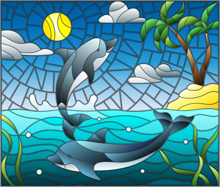 Illustration in stained glass style with a pair of dolphins on the background of water ,cloud, sky ,sun and Islands with palm trees. Stock Illustratie