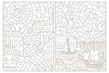 Set contour illustrations of the stained glass Windows with landscapes, town and seascapes