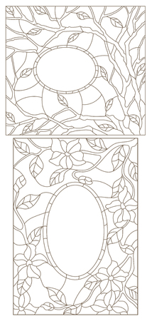 Set contour illustrations of stained glass in an abstract framework with flowers, leaves and branches