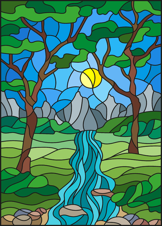 brook: Illustration in stained glass style with a rocky Creek in the background of the Sunny sky, mountains, trees and fields Illustration