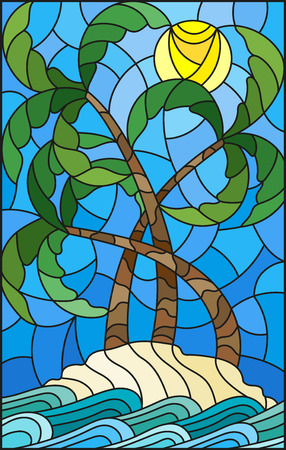 Illustration in stained glass style with a tropical sea landscape, coconut trees on the sandy beach on the background of Sunny sky