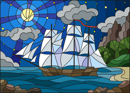 Illustration in stained glass style with sailboats against the starry sky, the sea and the moon