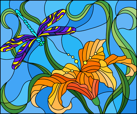 Illustration in stained glass style with bright dragonfly against the sky, foliage and flower of Lily