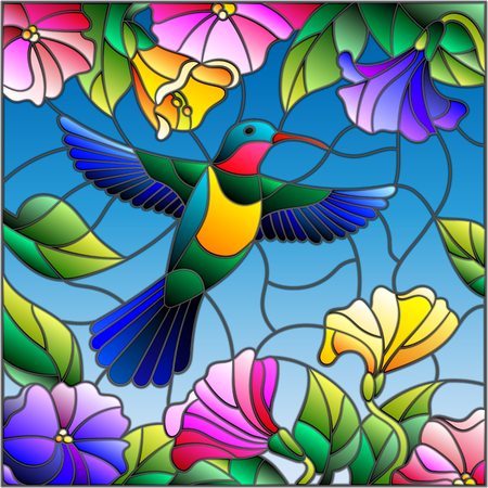 Illustration in stained glass style with colorful Hummingbird on background of the sky ,greenery and flowers Vettoriali