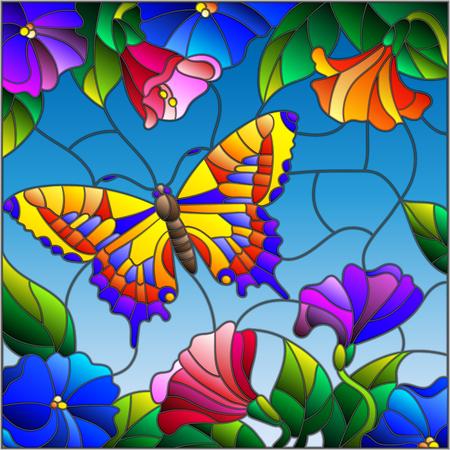 하늘, 단풍과 꽃에 대 한 밝은 나비 스테인드 글라스 스타일의 그림