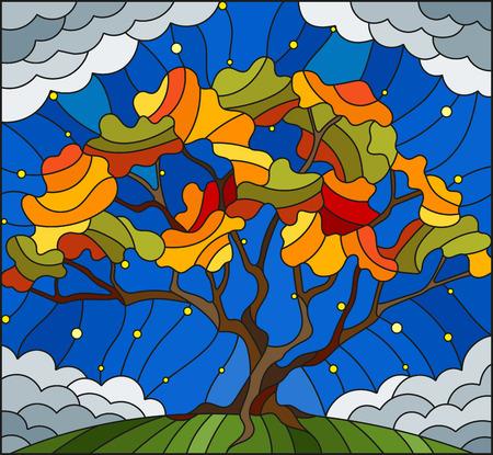 스타와 함께 하늘 배경 에을 나무와 스테인드 글라스 스타일로 그림