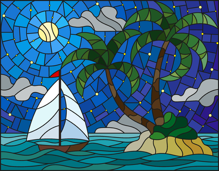 Illustration in stained glass style with the seascape, tropical island with palm trees and a sailboat on a background of ocean, moon and starry sky