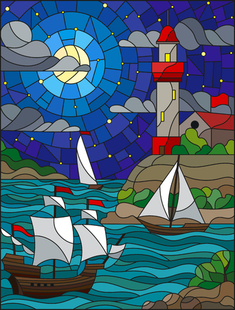 Illustration in stained glass style with sea view, three ships and a shore with a lighthouse in the background of sterry cloud sky , moon and sea Illustration