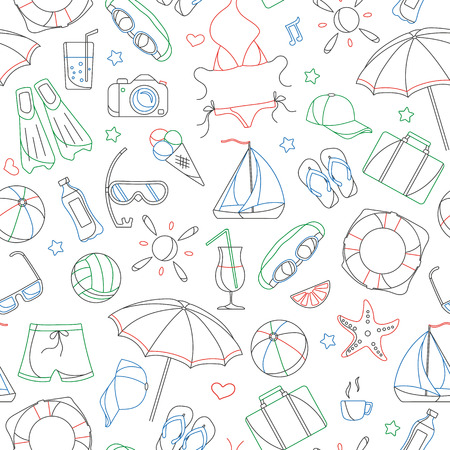 Seamless pattern on the theme of summer holidays in hot countries, simple contour icons are drawn with colored markers on white background