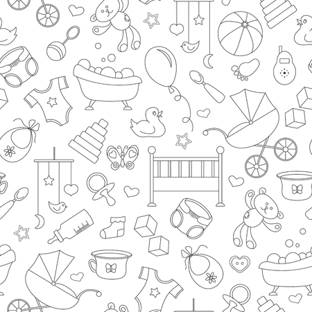 Seamless pattern on the theme of childhood and newborn babies, baby accessories and toys, simple contour icons, black contour on white background