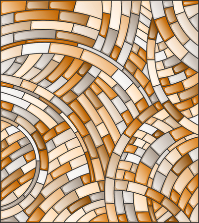 Abstract mosaic background of  tiles on a dark background, brown tone,sepia Illustration