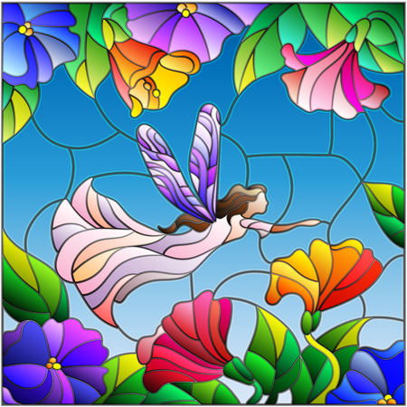 fairy: Illustration in stained glass style with a winged fairy in the sky, flowers and greenery