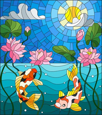 Illustration in stained glass style with koi fish and Lotus flowers.