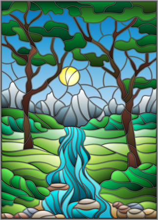 brook: Illustration in stained glass style with a rocky creek, mountains, trees and fields. Illustration