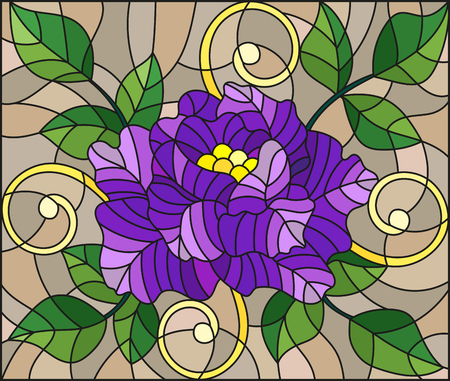 Illustration in stained glass style with abstract purple flower, buds and leaves of rose. Illustration