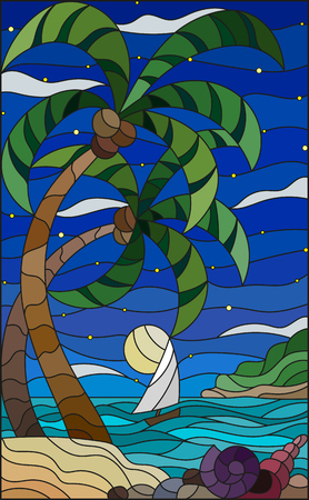 Illustration in stained glass style with a tropical sea landscape, coconut trees and shells on the sandy beach, a sailboat in the distance.