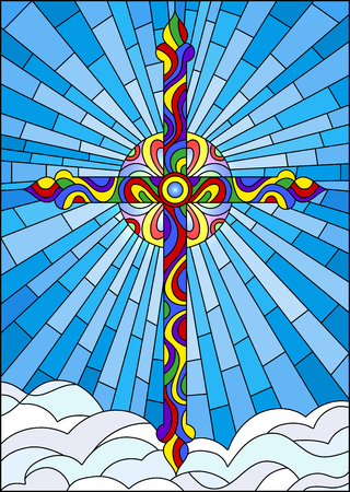 Illustration in stained glass style with bright cross on a blue sky and clouds