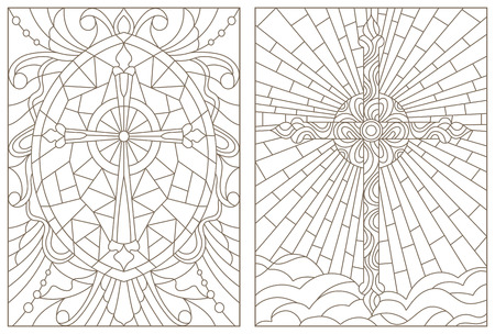 Set contour illustrations of stained glasses with Christian cross