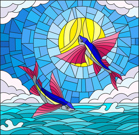 Illustration in stained glass style with a pair of flying fish on water. Illustration