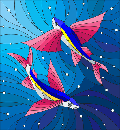 Illustration in the style of stained glass with two flying fishes manta rays on water. Illustration