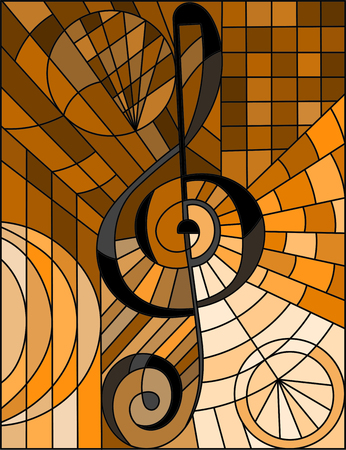 Abstract image of a treble clef in stained glass style, brown tone, sepia.