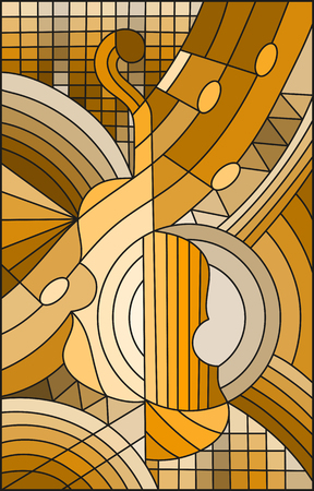 Illustration in stained glass style the shape of an abstract violin, brown tone, sepia Illustration