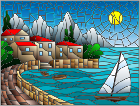 The illustration in stained glass style painting with a sailboat with city, sea and sun