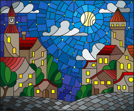 Illustration in stained glass style, urban landscape, roofs and trees against the starry sky, clouds and moon Illustration