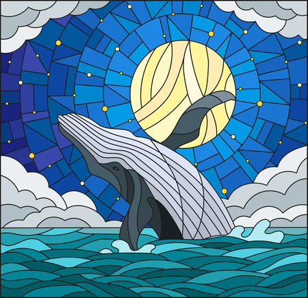 Illustration in stained glass style with a whale