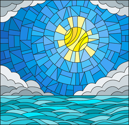 Illustration in stained glass style with sea landscape, sea, cloud, sky and sun Ilustração